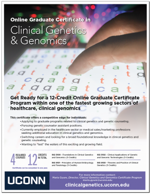 UConn Online Clinical Genetics and Genomics Graduate Certificate